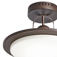 e6a3b5c45c2 Shop Kichler Lighting 14.57-in W Oil Rubbed Bronze Frosted Glass Semi-Flush  Mount Light at Lowes.com