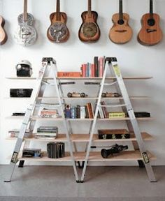 repurposed ladder :: thinking about doing this in the living room with one old wooden ladder