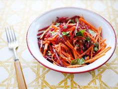 Beet and Carrot Slaw from CookingChannelTV.com  There will be plenty for me, since the boys are not fans of carrots or beets.