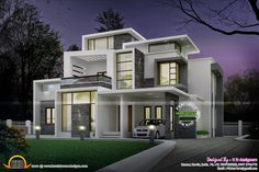 Side elevation view - Grand Contemporary home design - Night view ...