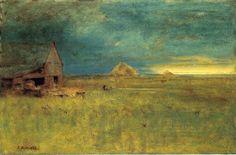 George Inness (American Hudson River School/Tonalist Painter, 1825-1894) The Lone Farm