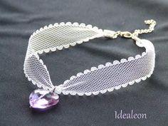 DIY Crystal Heart Lace Chokers DIY Lace Choker DIY Crafts