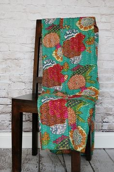 Fruit Print Kantha Bedcover - Green by Modelli Creations on @HauteLook