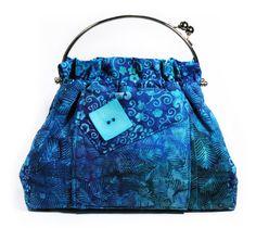 Aqua Blue Handbag Tropical Flowers by MysticRainCreations on Etsy, $56.00