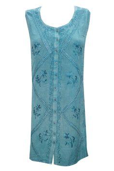 Peasant Shift Dress Blue Stonewashed Rayon Embroidered Sleeveless