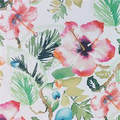 This is a cotton orange, pink, green and gold watercolor floral drapery fabric, suitable for any decor in the home or office. Perfect for pillows, drapes and bedding.v117PAEF  Quantities Limited!