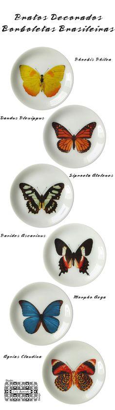 Pratos em porcelana decorados com borboletas brasileiras do Studio Cris Azevedo. Os pratos podem decorar suas paredes ou podem servir para decorar e alegrar a sua mesa na hora de receber seus convidados. Pratos de sobremesa com 19 cms, jogo para 6 pessoas.