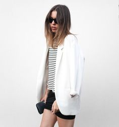Girl blazer white pretty stripes skirt fashion outfit