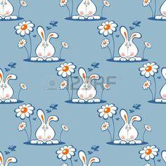 orange: Cartoon rabbit on a blue background. Seamless pattern. Illustration