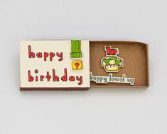 "Divertido cumpleaños Super Mario / tarjeta geek Matchbox / caja de regalo de cumpleaños / ""feliz nivel"" / BD023"