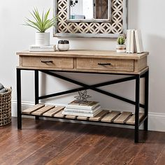 Shop console tables at Kirkland's! Charm guests right from the door with an entryway table. A console table offers both and style in any room of the house. Furniture Sale, Upcycled Furniture, Living Room Furniture, Furniture Design, Rope Shelves, Wooden Shelves, Entrance Table, Entryway Tables, Console Tables