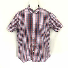cdd829116b Warrior Mens Button Up Cotton Shirt Sz XL Blue Red White Short-sleeve Punk  Oi