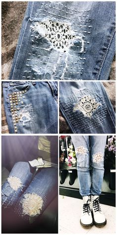 Most recent Images mending on her denim jeans. makes these jea… – 20 Most recent Images mending on her denim jeans. makes these jea… – 2019 - Denim Diy Style I really like Jeans ! And much more I want to sew my own personal Jeans. Next Jeans Sew Along I' Diy Kleidung Upcycling, Jean Diy, Artisanats Denim, Diy Clothes Refashion, Jeans Refashion, Visible Mending, Sashiko Embroidery, Denim Ideas, Denim Crafts