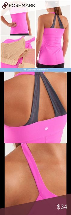 Lululemon Scoop Me Tank with built in bra No pilling.  Clean, smoke free house. message me with any questions!  adjust the built-in shelf bra for a perfect fit soft comfortable straps give support and won't dig in removable cups add shape and give coverage mesh panelling thoughtfully placed in the bust's liner moisture wicking technology pulls sweat away from your skin  fabric(s): luon®, Luxtreme® properties: moisture wicking, chafe-resistant, breathable, four-way stretch shelf bra: yes…