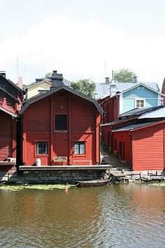 Red house by water - Porvoo, Finland Marimekko, Red Houses, Living In Europe, Red Cottage, Scandinavian Home, Helsinki, Architecture, Continents, Denmark