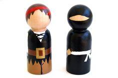 Pirates vs Ninjas Wooden Peg Dolls by BrightLifeToys