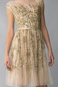 Gold leaf inspired cocktail dress by basix- $695 isn't too much for bridesmaid's dresses, is it? They'll wear it again! (joke, ladies!)