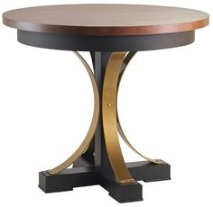 "Amish Studio 42"" Round Counter Table with Pedestal Base Exciting combination of wood and steel comes together in your dining room or kitchen! Choose wood type, steel base color and more!"