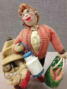 SOLD RAREST Klumpe Roldan Vintage Shopper Doll with Dog Biting Chicken  #KlumpeorRoldan