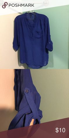 Royal Blue Blouse Two buttons on front and sleeves can be worn down or buttoned. 3/4 length sleeve Maurices Tops Blouses