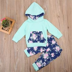 Mikrdoo Fashion Baby Clothing Autumn Winter Toddler Kids Boys Girls Tops Floral Hoodies Pants Home Outfits 2Pcs Set Clothes 0-24M Wholesale 4