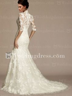 modest wedding gown | Home / Modest Lace Appliqued Mermaid Wedding Gown with Sleeves DE302