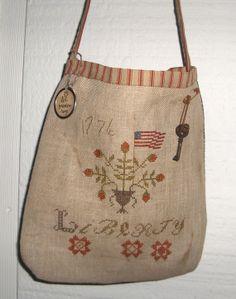 Primitive Cross Stitch Liberty Sewing Pouch design by Stacy Nash Primitives