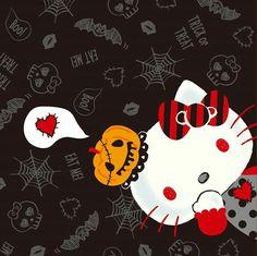 Source: sanriohellokittycafejkt(ig). Sanrio, Hello Kitty Halloween, Hello Kitty Pictures, Childrens Wall Art, Hello Kitty Wallpaper, Fright Night, Paper Background, Mobile Wallpaper, Stationery