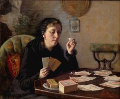 Elin Kleopatra Danielson-Gambogi (Finnish painter) 1861 - Cards Entertainment,, oil on canvas, signed and dated l. Helene Schjerfbeck, Tarot Readers, Oil Painting Reproductions, Modern Artists, Fortune Teller, Figure Painting, Oeuvre D'art, Female Art, Les Oeuvres