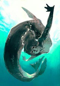 leopard seal mermaid, an art print by Caitlin Soliman Ocean Creatures, Fantasy Creatures, Mythical Creatures, Mermaid Drawings, Mermaid Art, Tarot, Mermaids And Mermen, Merfolk, Pretty Art