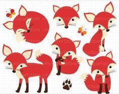 Clipart fantasía forestal / bosque animales Fox por MyClipArtStore