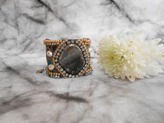 Grey Agate Bracelet Pearl Cuff Bracelet Boho Cuff by JewelryLanChe  #grey #agate #cuff #bracelet #bohemian #boho #hippie #wedding #jewelry