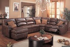 Leather Reclining Sectional Sofa with Chaise