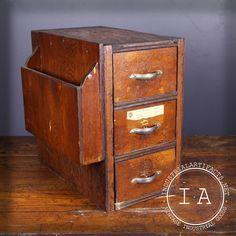 Vintage Industrial 3 Drawer Bankers Storage Cabinet