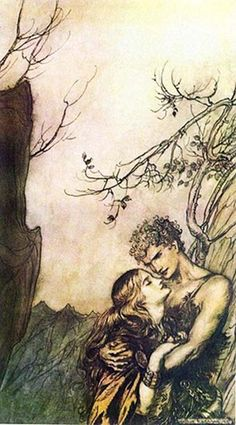 'Brünnhilde and Siegfried' by Arthur Rackham. In the Volsung Saga the Valkyrie Brynhildr fell in love with the mortal Sigurd.