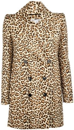 Carven Printed Wool Leopard Double Button Coat on shopstyle.com