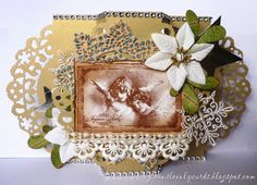I have another last minute card to share today. Luckilly I could hand deliver this one so it didn't need making as early as the rest. I repeated my design from this card I created for the Stempelglede. Christmas 2015, Xmas, Vintage Christmas Cards, Tim Holtz, My Design, Create, Fairies, Projects, Stamps