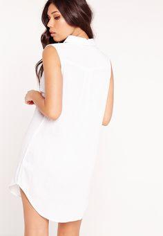 Missguided - Pocket Curve Hem Sleeveless Shirt White