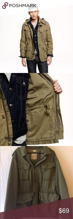 """J Crew Garrison Fatigue Jacket J Crew Garrison Fatigue Jacket.  Size XL; 26"""" width, 32"""" length, 100% cotton.  Faded army green color, vintage military style.  Great condition!  Does not come with hood. J. Crew Jackets & Coats Military & Field"""