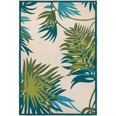 5x8 Tropical Coastal Beach Palms Aqua Blue Indoor Outdoor Hooked Area Rug #RugIsland #Tropical