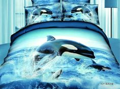 New Arrival Top Class Ocean Star Jumping Dolphin Print 4 Piece Bedding Sets/Duvet Cover Sets 3d Bedding Sets, Cotton Bedding Sets, Comforter Sets, Bedding Decor, Orcas, Animal Print Bedding, Ocean Room, Ocean Themes, Wal