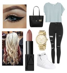"""""""Untitled #128"""" by tumblrsaved2 on Polyvore featuring H&M, MICHAEL Michael Kors, Topshop, adidas, Michael Kors, NARS Cosmetics, women's clothing, women, female and woman"""