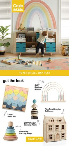 Spending a lot more time at home in the playroom? We have some favorite toys for all-day play. Plus, storage essentials for a space that plays hard, but cleans up nicely.