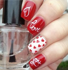 """Red and White Heart and """"Love"""" Valentines Day Nail Design"""