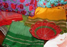 pillows, basket and scarves for November Sale at Bird Hill/ www.galeriebonheur.com