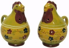 "Midwest Seasons of Cannon Falls Terracotta Rooster Salt & Pepper Set by Midwest. $12.99. Measure 3"" tall and 2"" wide. Adorable, collectible, functional and fun. Handpainted and handcrafted, dishwasher and food safe. Can be used with many different styles and decors. Perfect addition for your kitchen or as a gift. Midwest's Seasons of Cannon Falls Terra Cotta Rooster Salt & Pepper Set. These shakers are made of glazed terra cotta and are shaped like roosters with a floral desig..."