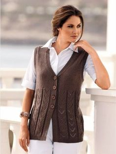 Womens Hand Knit Wool Vest – knitting vest – Knitting for Beginners Baby Knitting Patterns, Knitting Designs, Hand Knitting, Knitting Machine, Loom Knitting, Knitting Stitches, Knitting Needles, Wool Vest, Work Outfits