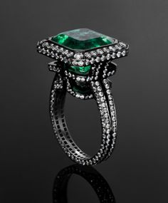 Emerald Labyrinth Ring. 9.196ct Emerald, 2.467ct Diamonds set in 18K Blackened White Gold. THIS. IS. ALL. I. WANT.