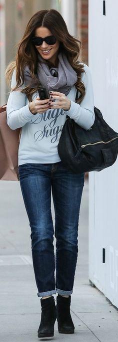 Who made Kate Beckinsale's black leather handbag and print sugar top? Sweatshirt – Sol  Purse – Givenchy