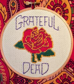 Grateful Dead Rose Handmade Needlepoint by stitchedbycandy on Etsy